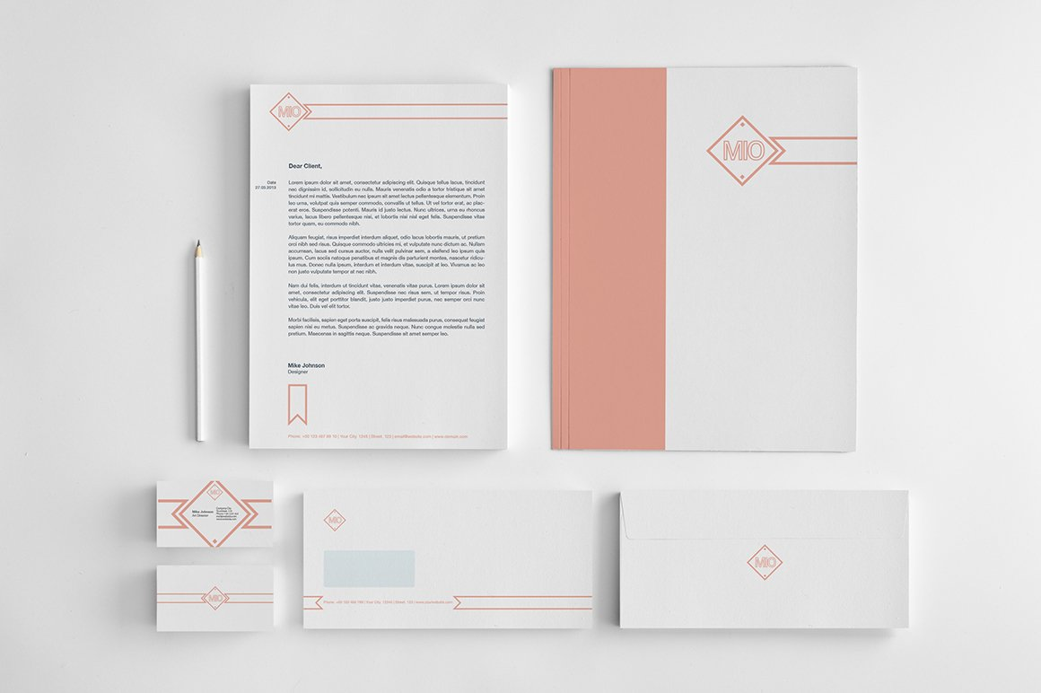 mio corporate identity pack stationery templates creative market