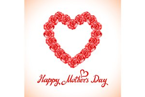 happy mother Day rose Heart card