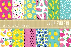 Frutti Digital Paper Set Summer