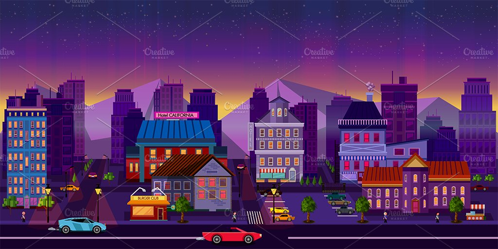 night city background 2d illustrations creative market