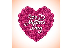 happy mother Day. rose Heart. card