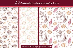 10 seamless sweet patterns