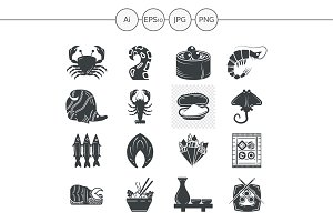 Seafood menu black silhouette icons