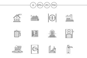 Rent of property line vector icons