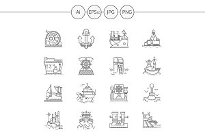 Ships and port flat line icons