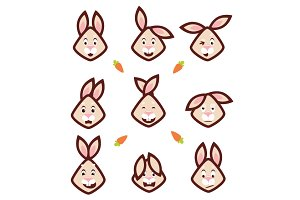 Vector emotional faces rabbits