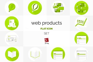 Web products flat icon set