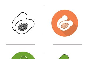 Papaya icons. Vector