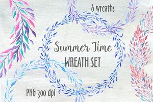 Blue wreaths watercolor clipart