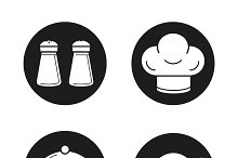 Kitchen equipment icons. Vector