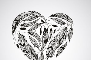 Vector Heart Made of  Feathers
