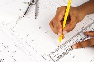 Drawing blueprint plan