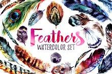 20%Off Watercolor Boho Feather DIY