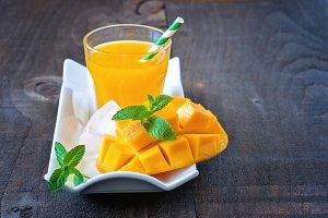 Mango juice, copy space