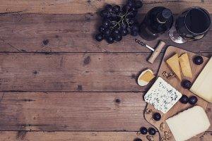 Wine and wine cheese platter