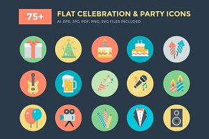 75+ Flat Celebration and Party Icons