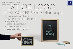 Text or logo on blackboard mockups