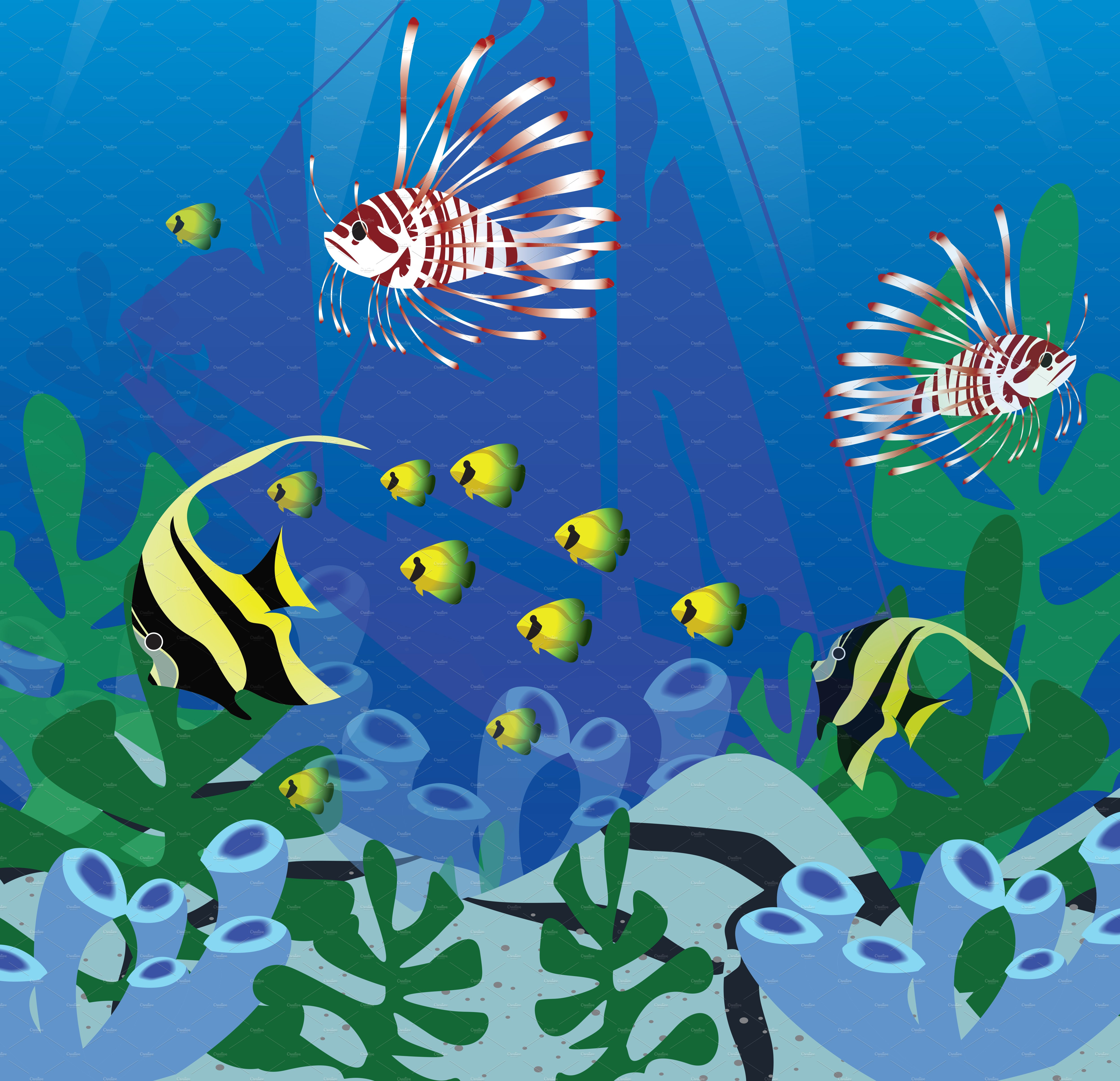 Under the sea with many kind of fish illustrations for Sea world fish market