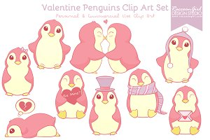 Valentine Penguins Clip Art Set