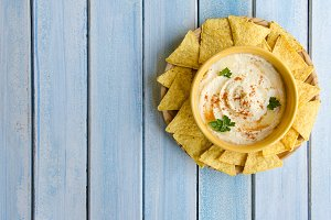 Hummus and corn chips.