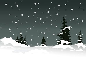 Winter at night landscape