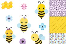 Bee Clip Art Pack + Patterns