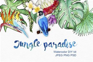 Jungle paradise - watercolor DIY kit