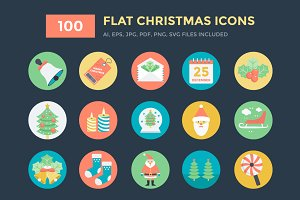100 Flat Christmas Vector Icons