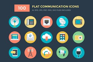 100 Flat Communication Vector Icons