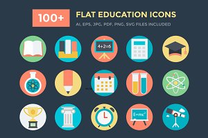 100+ Flat Education Vector Icons