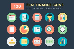 100 Flat Finance Vector Icons