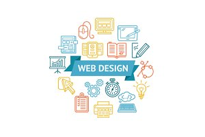 Web Design Icon Concept. Vector