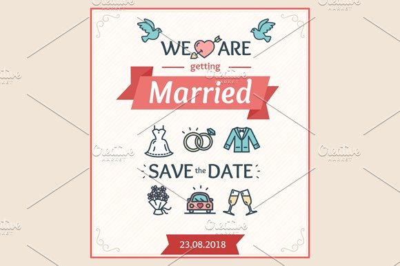 Wedding Invitation. Vector - Illustrations