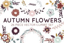 Autumn Flowers Vector Clipart Set