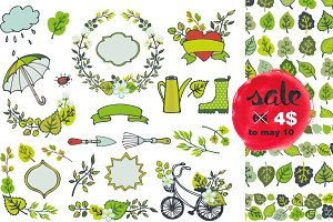 Spring plants decor set.Vector
