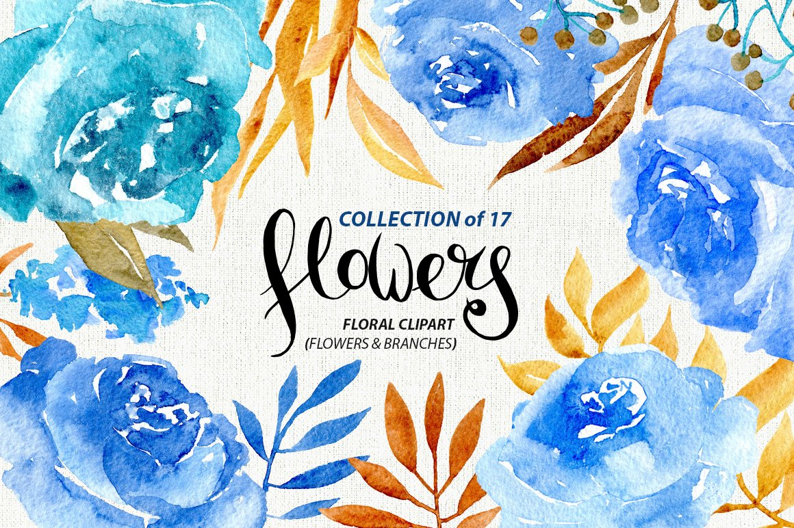 Blue Watercolor Flowers Graphics Creative Market