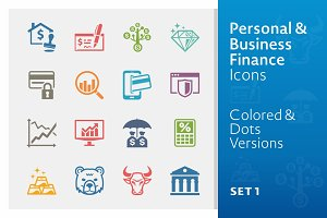 Colored Business Finance Icons 1