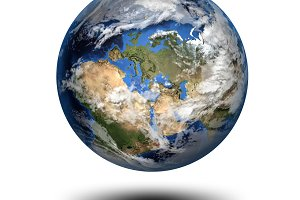 Isolated 3D image of planet Earth