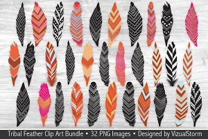 Tribal Feather Clip Art Bundle