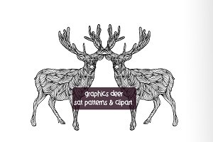 Graphic Deer, patterns & clipart