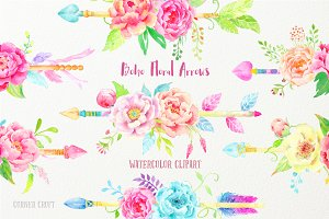Watercolor Boho Peony Arrows