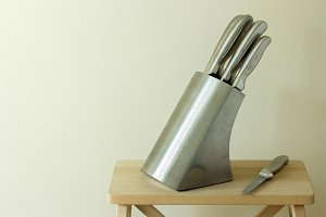 set of kitchen knifes on table