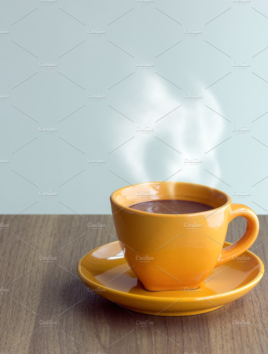 Steaming coffee cup on table food drink photos creative market steaming coffee cup on table geotapseo Gallery