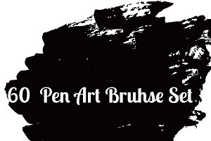 60 Pen Art Brushes set vector