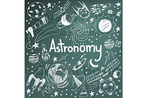 Astronomy education board doodle