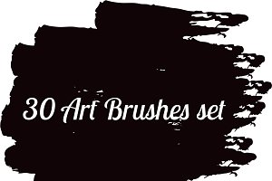 30 Art brushes set vector
