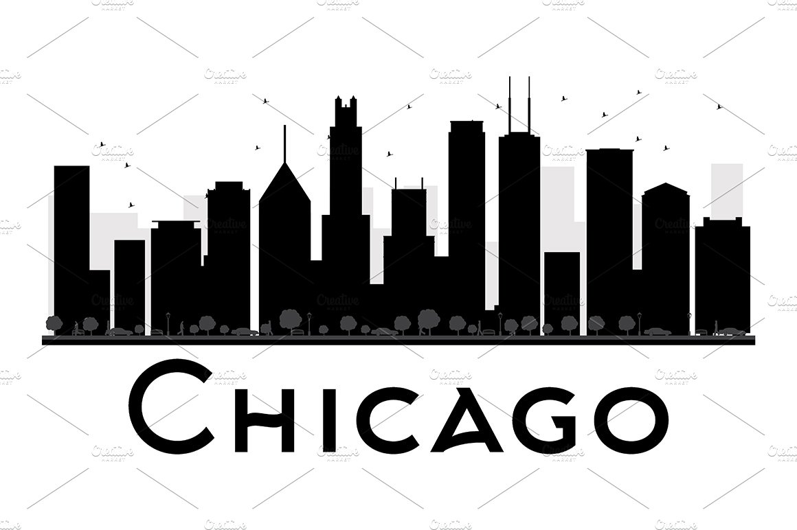 chicago city skyline silhouette illustrations creative market
