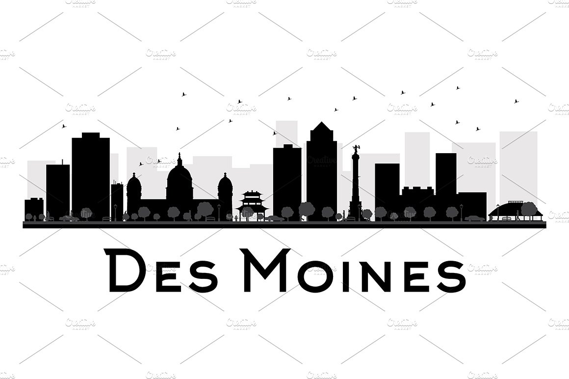 Des Moines City Skyline Silhouette Illustrations Creative Market
