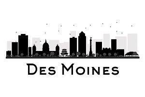Des Moines City skyline silhouette