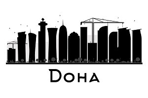 Doha City skyline silhouette